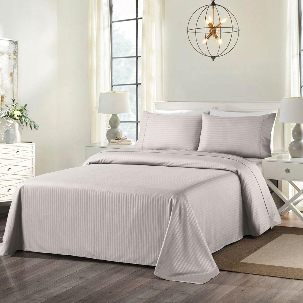 Royal Comfort Cooling Bamboo Blend Sheet Set Striped 1000 Thread Count Pure Soft - Queen - Sand