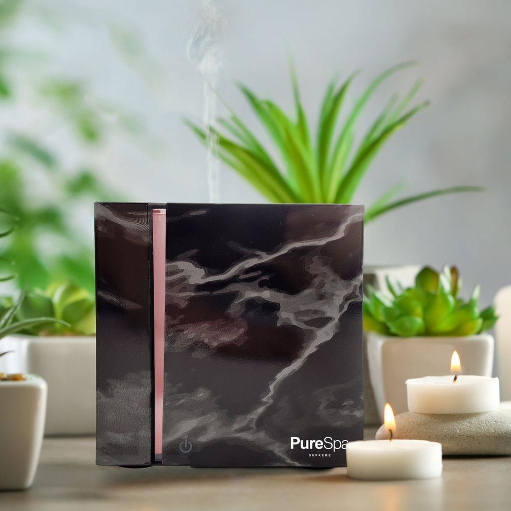 PureSpa Aroma Diffuser 200ml Modern Marble Grain Design Ultrasonic Humidifer - Black