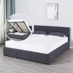 Milano Luxury Gas Lift Bed Frame And Headboard - Queen - Dark Grey