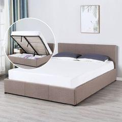 Milano Luxury Gas Lift Bed Frame And Headboard - King - Beige