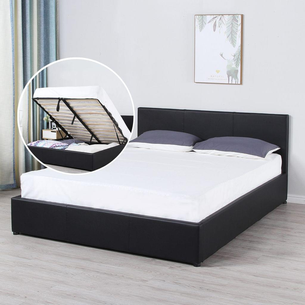 Milano Luxury Gas Lift Bed Frame And Headboard - King - Black