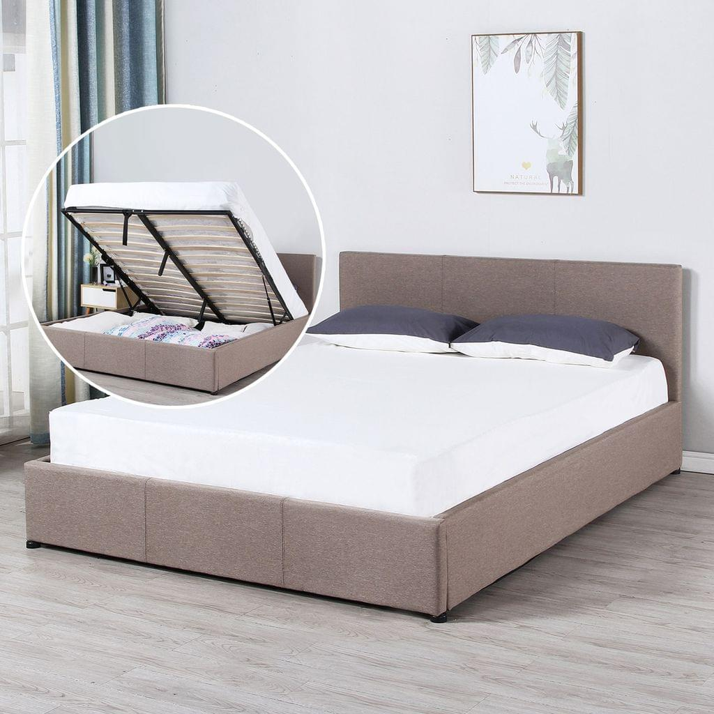 Milano Luxury Gas Lift Bed Frame And Headboard - Queen - Beige