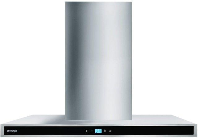 Omega 90cm Wall Canopy Rangehood- Blk Glass Fascia