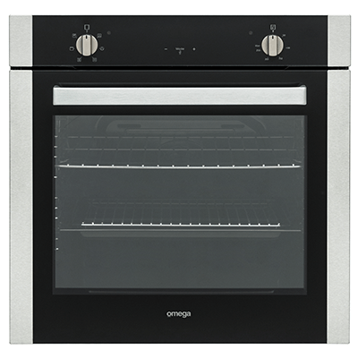 Omega 60cm Multifunction Oven Black Glass + S/S