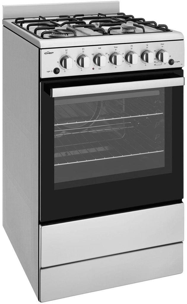 Chef 54cm Upright Grill in Oven 4x Burners Enamel - LPG