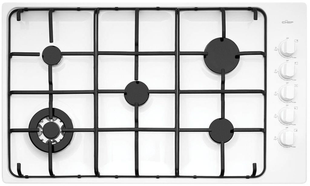 Chef 90cm Gas Cooktop 5 Brnr w/ Wok FF - White