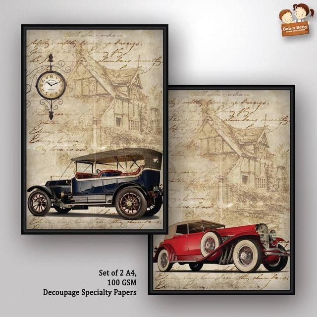 Bob N Betty Decoupage Paper - Vintage Wheels 3