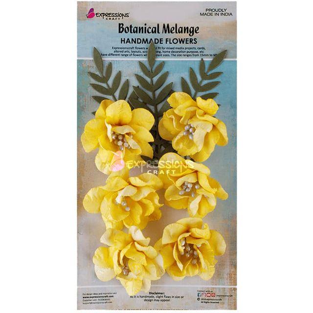 Expressions Craft-Botanical Melange- Shabby Crinkle Flower Lemon Twist