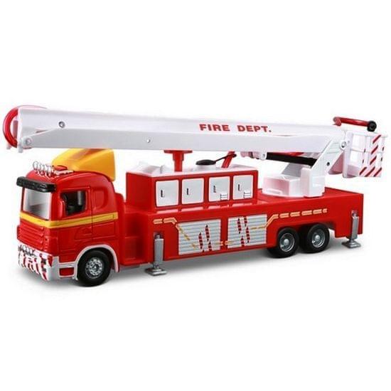 Maisto Fresh Metal Super Transporter Truck Line Tractor Trailor Series, Fire Engine Trailer, Die Cast