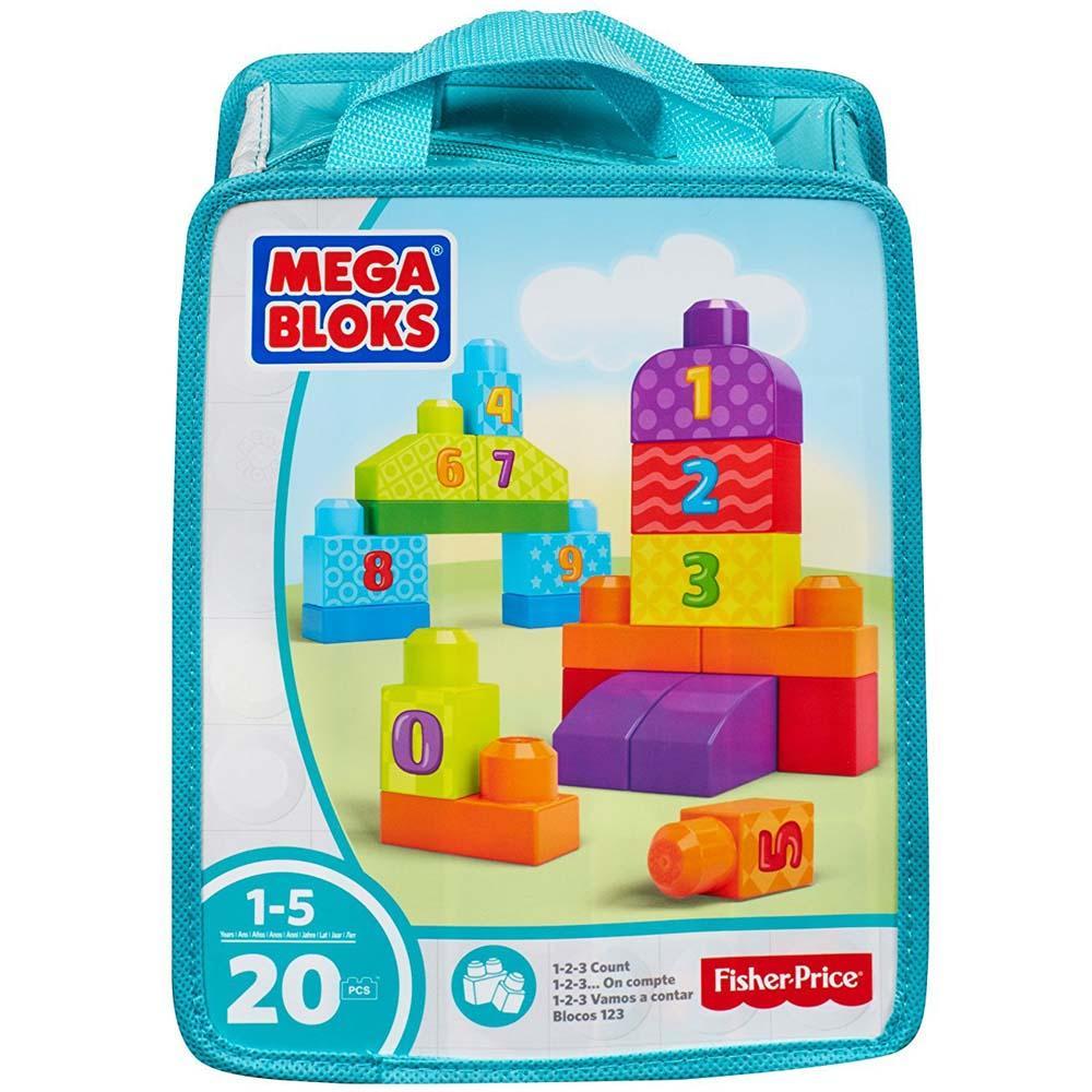 Mega Bloks 123 Count Bag Set, 20 Pieces Multi Color