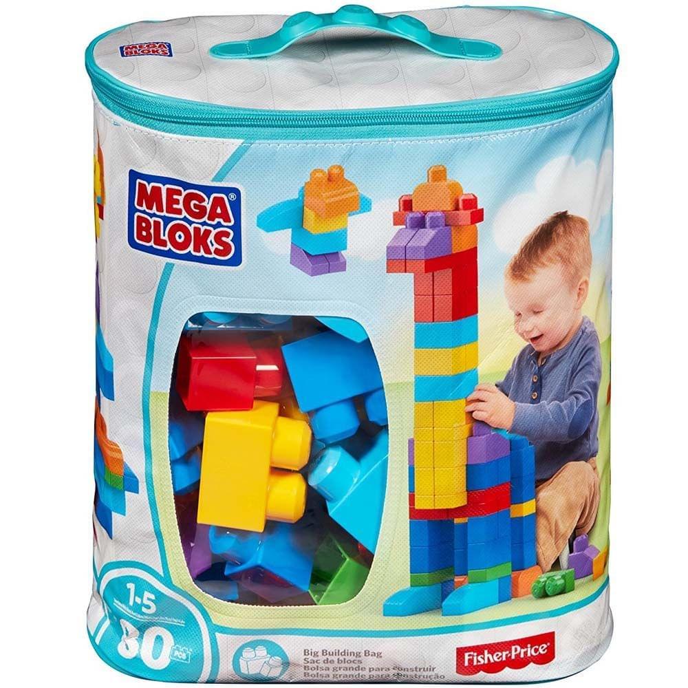 Mega Bloks Big Building Bag, 80 Pieces Blue