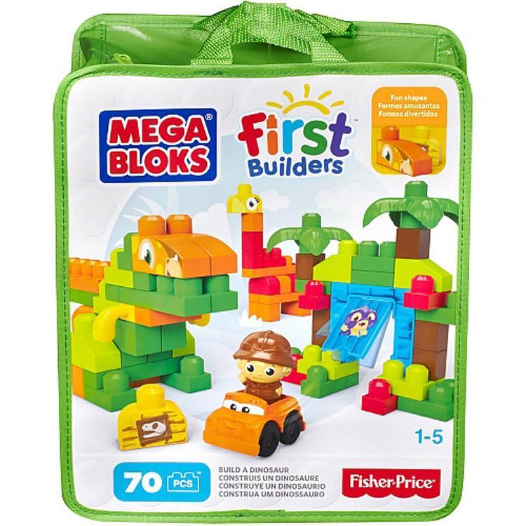 Mega Bloks First Builders Build a Dinosaur, 70 Pieces Bag Multi Color