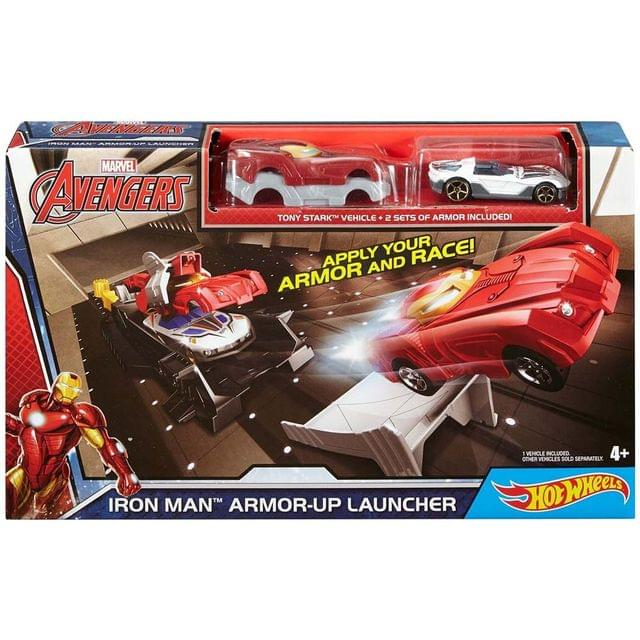 Hot Wheels Marvel Iron Man Armor-Up Launcher Playset, Multi Color