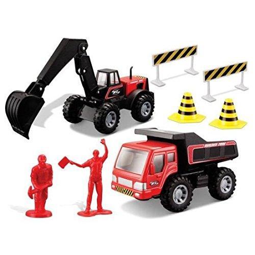 Maisto Fresh Metal Builder Zone Rapid Repair Set Dumper & Excavator, Red