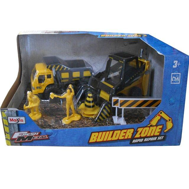 Maisto Fresh Metal Builder Zone Rapid Repair Set Dumper & Excavator, Yellow