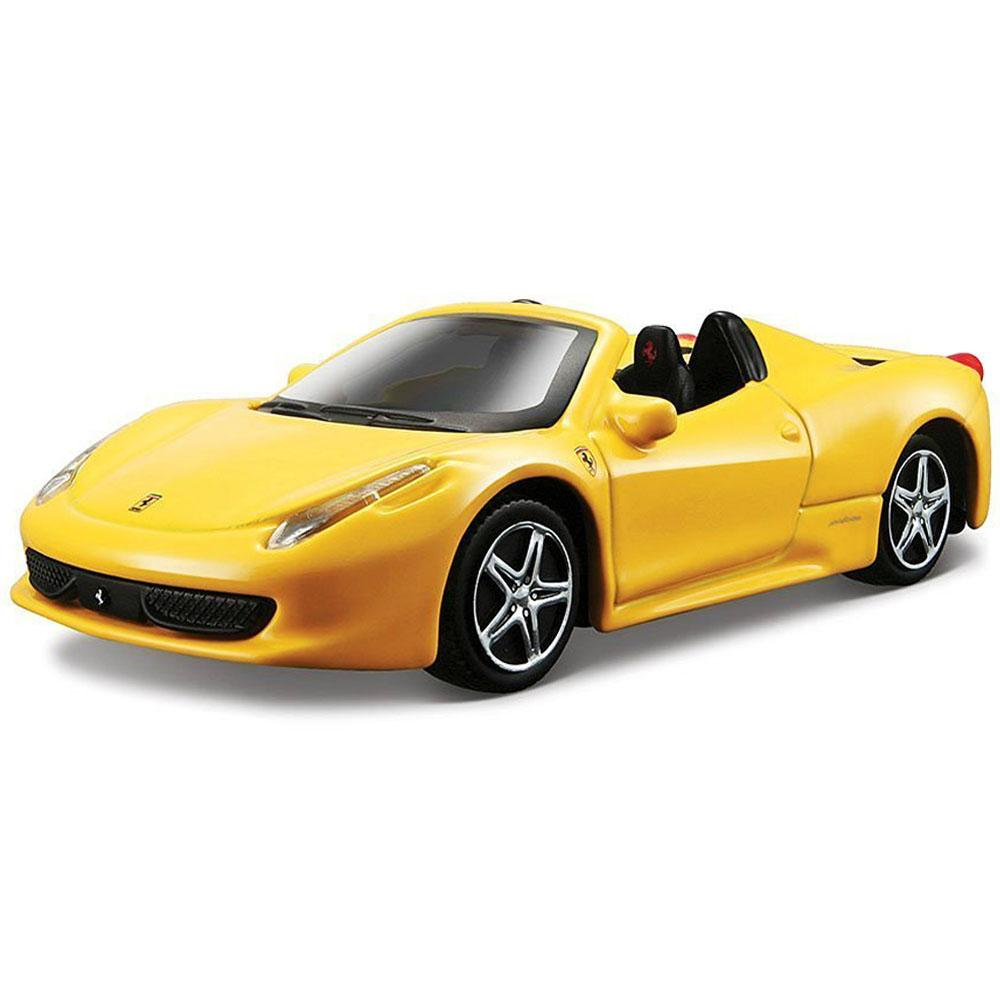 Burago Ferrari 458 Spider Yellow Color, 1:43 Scale Die Cast Metal Collectable Model Car