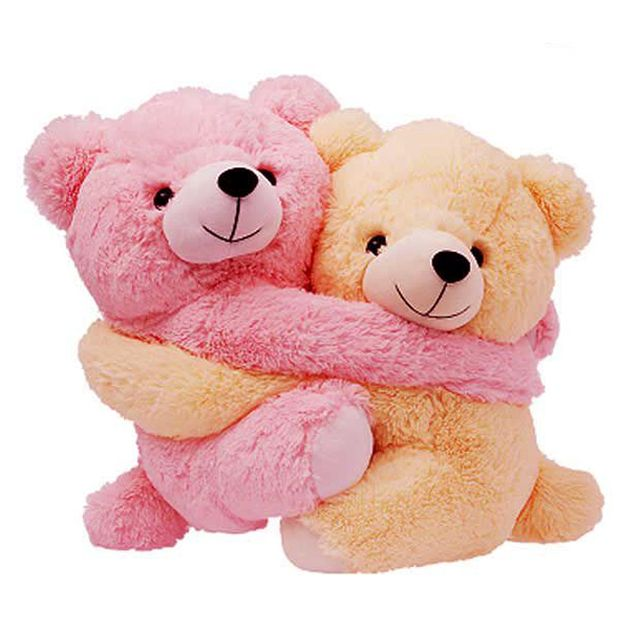 Dimpy Stuff Love Couple Bear Stuff Toy Small size Cream & Pink Color