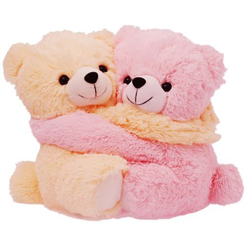 Dimpy Stuff Love Couple Bear Stuff Toy Medium size Cream & Pink Color