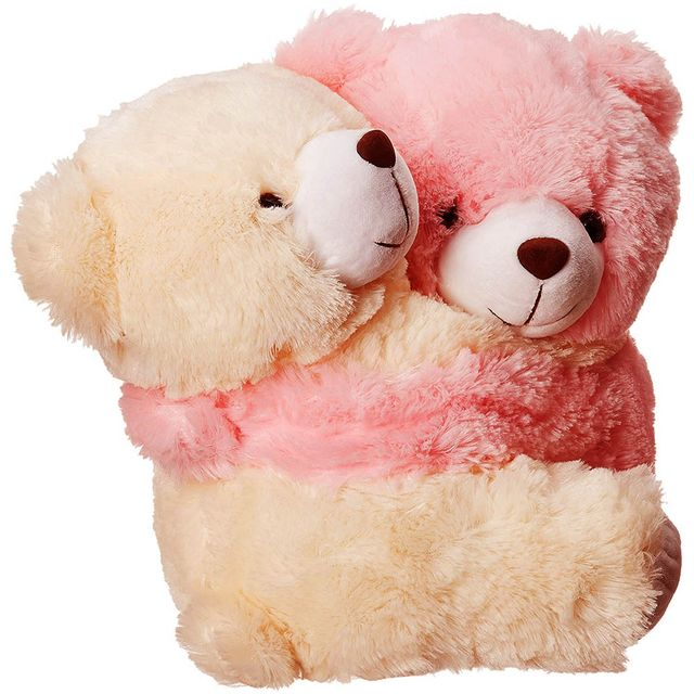 Dimpy Stuff Love Couple Bear Stuff Toy Large size Cream & Pink Color