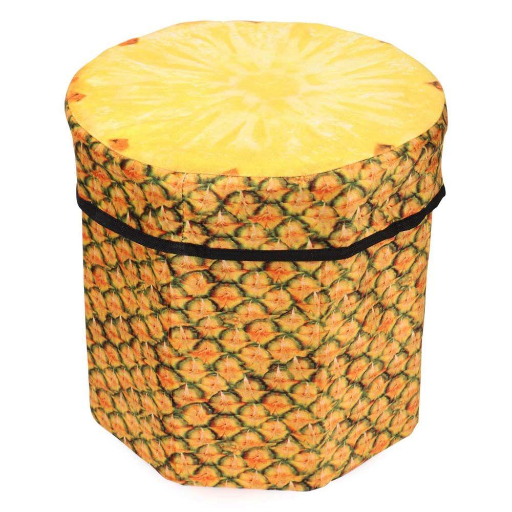 Dimpy Stuff Foldable Kids Stool with Soft Seat - Pineapple Theme