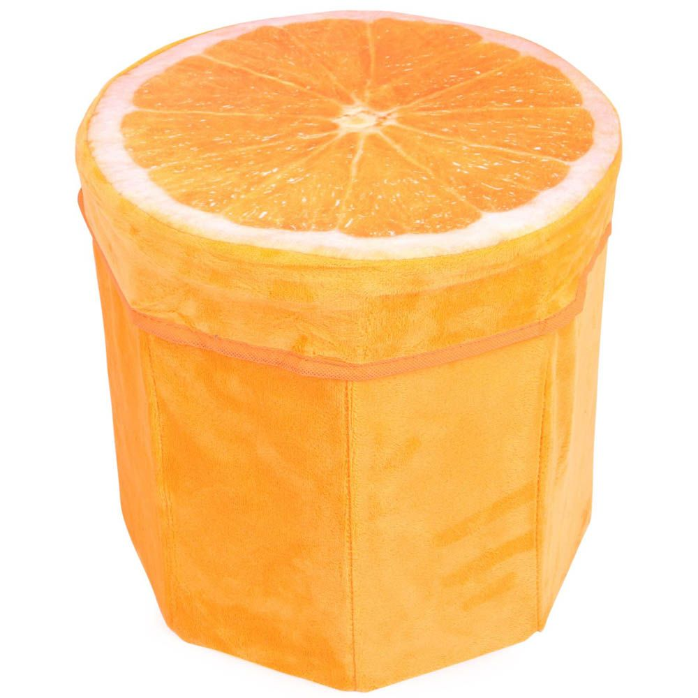 Dimpy Stuff Foldable Kids Stool with Soft Seat - Orange Theme