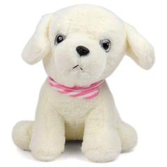 Dimpy Stuff Premium Dog with Muffler Stuff Toy White Color