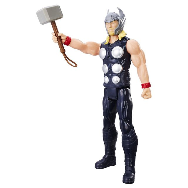 Marvel Ultimate Spider-Man Titan Hero Series, Thor Figure 12 Inches Action Figure Multi Color