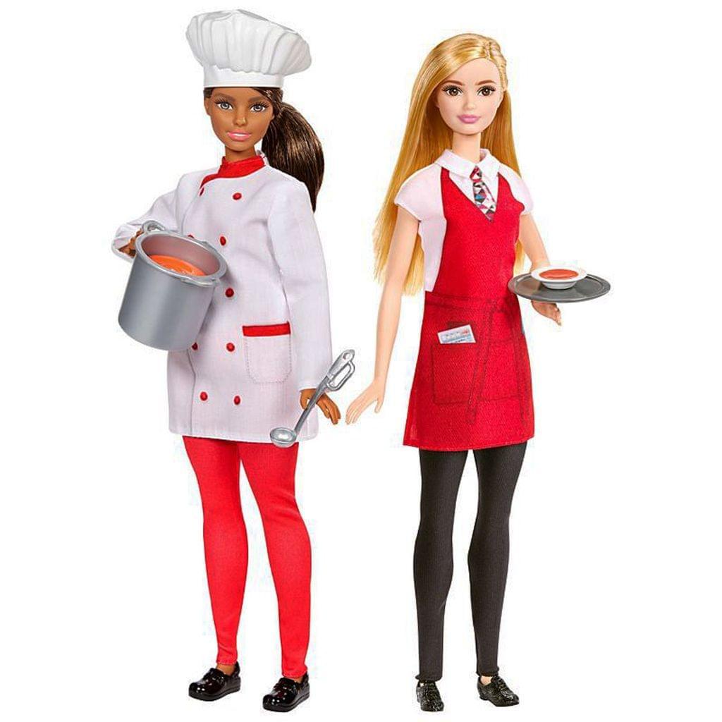 Barbie 2-in-1 Chef & Waiter 2 Doll Set Multi Colour