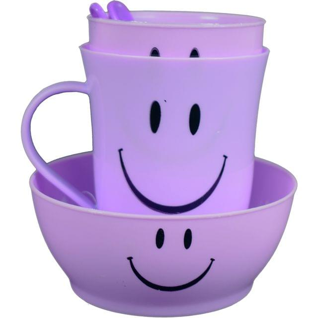 Myesha Home 5 Piece Plastic Cutlery Mug & Bowl gift set Purple Color