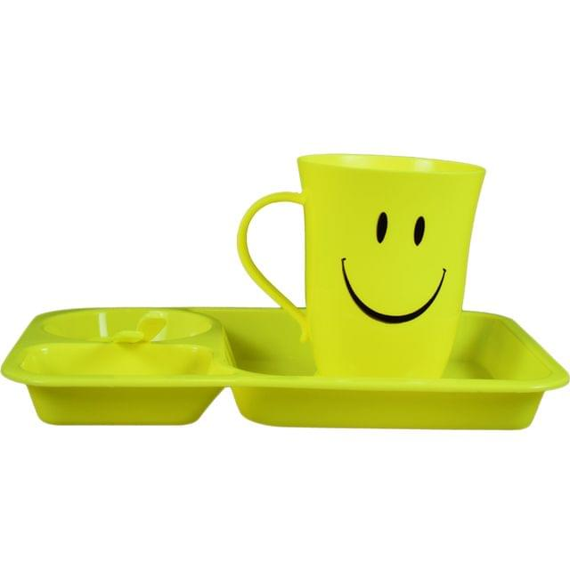 Myesha Home 4 Piece Googly Plastic Cutlery gift set Yellow Color