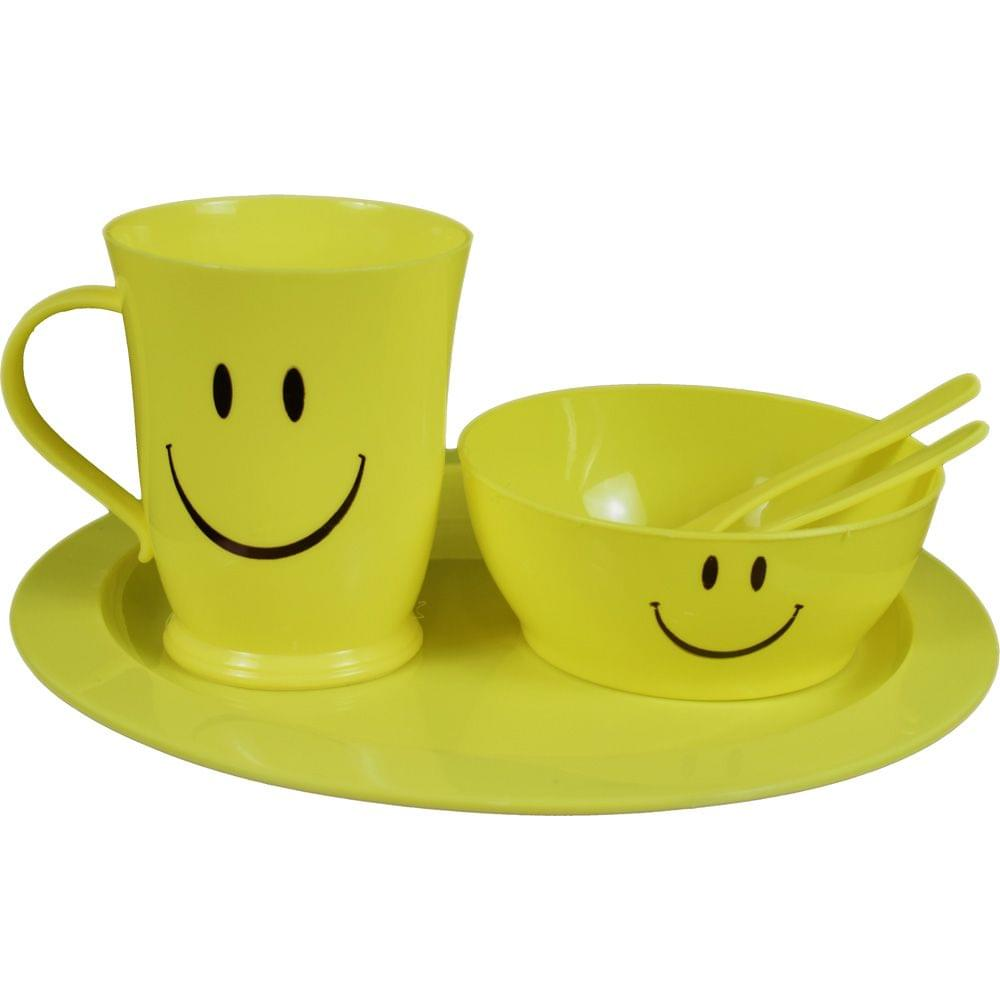 Myesha Home 5 Piece Plastic Cutlery gift set with Round Plate Yellow Color