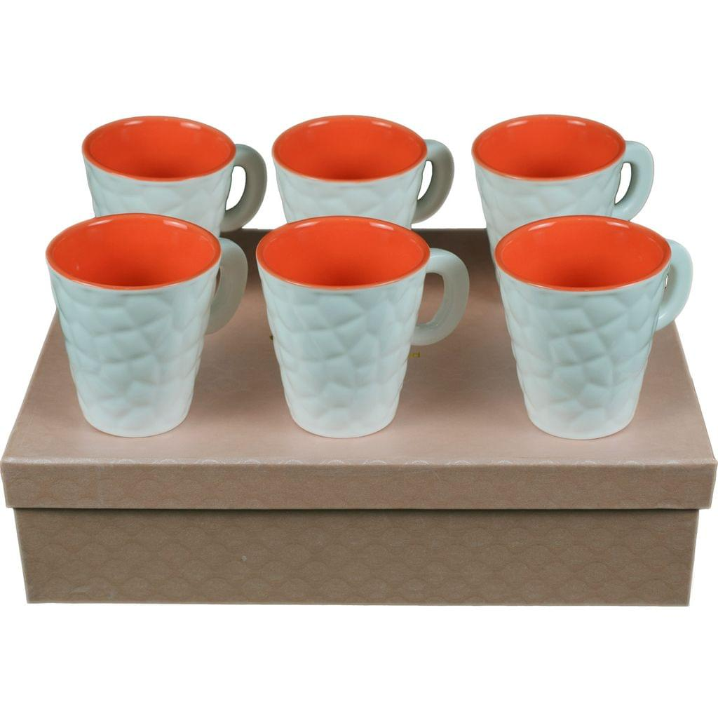 Soogo Luxury Collection Tea and Coffee Cup Exquisite set of 6 White and Orange Color Design 1