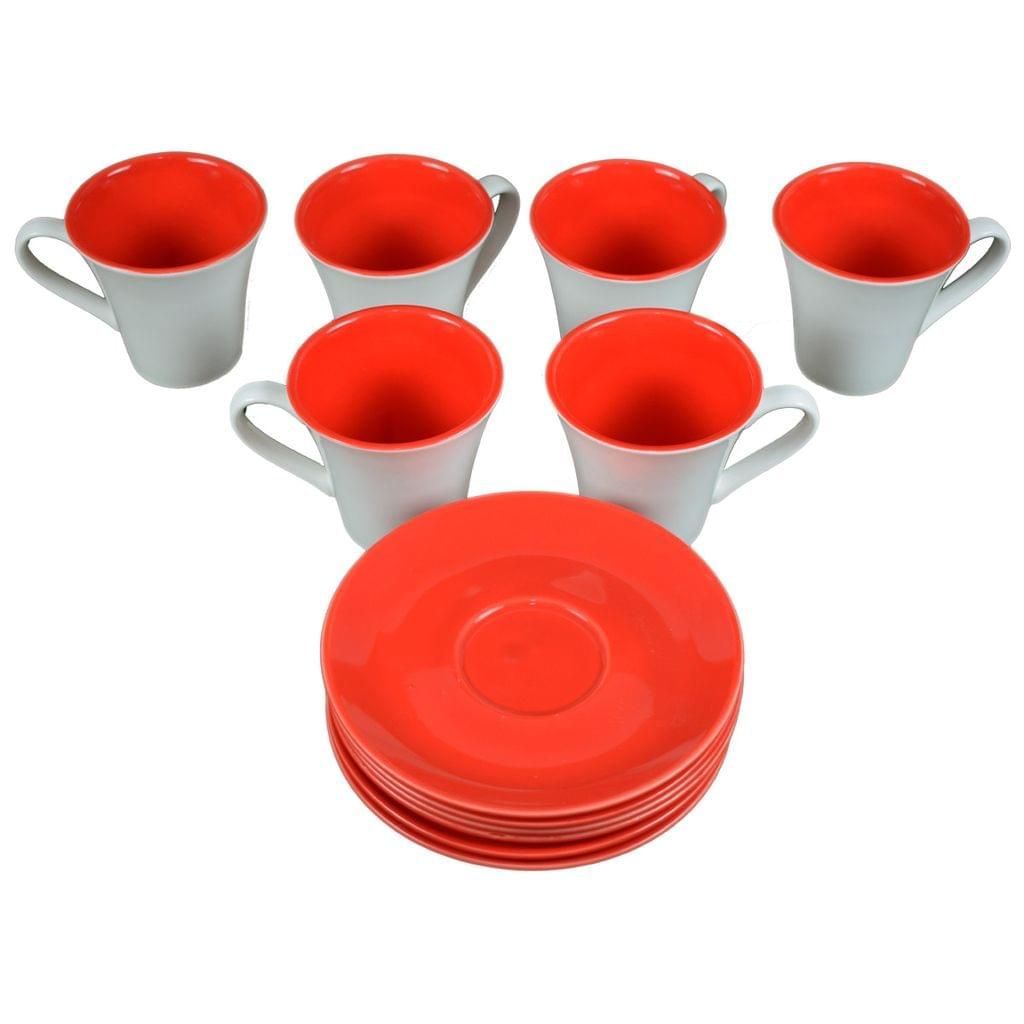 Soogo Luxury Collection Tea and Coffee Cup Exquisite set of 6 White and Red Color With Round Saucer Design 2