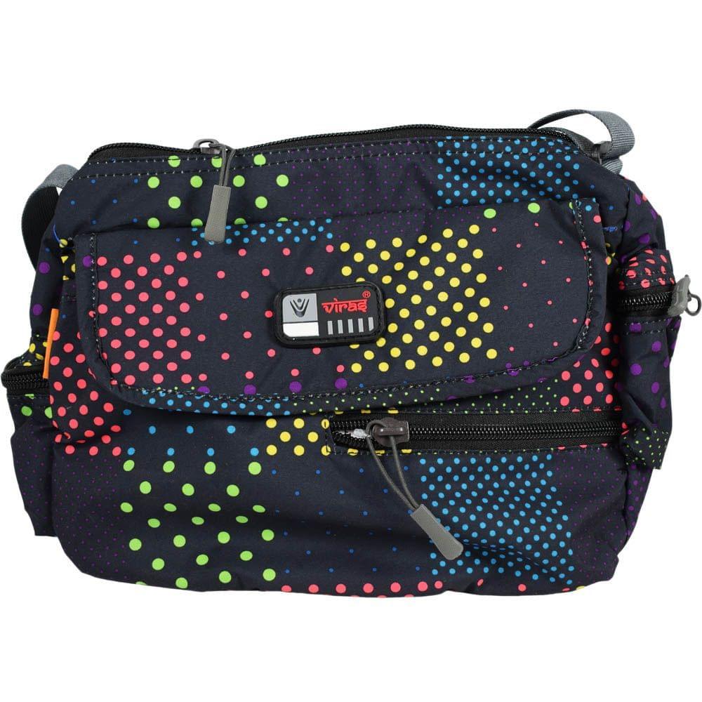 Viraz Teflon Coated Waterproof Sling Bag, Black with multi color pattern