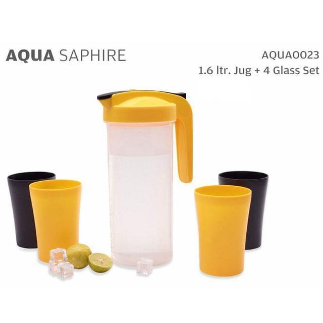 Varmora Aqua Saphire Water Jug With Glass Set (1600 ML and 400 ML)