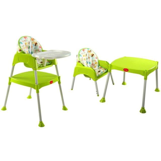 LuvLap Tiny Learner 3 in 1 Baby High Chair, Green Color