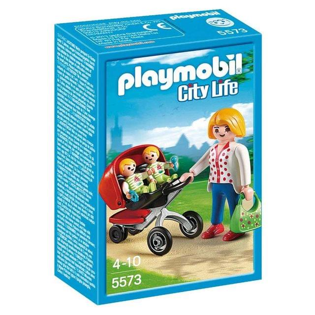 Playmobil Mother With Twin Stroller, Multi Color