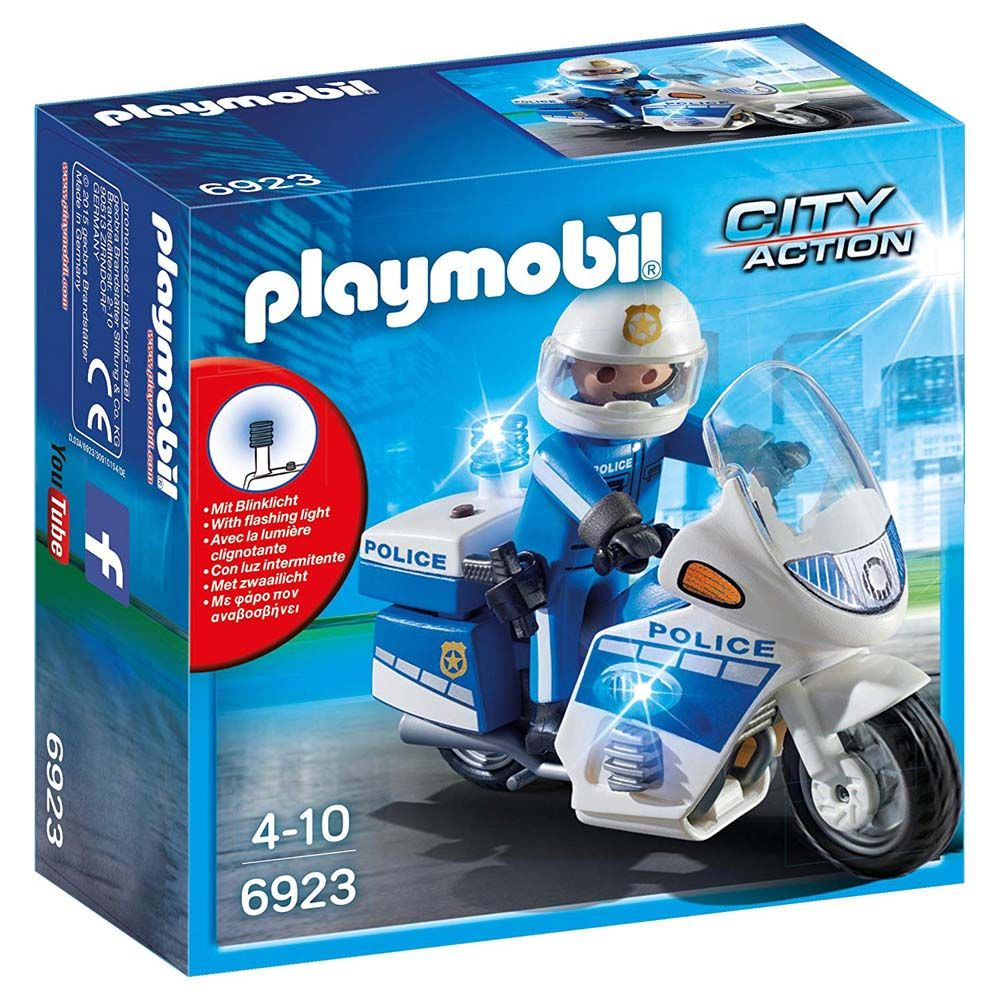 Playmobil Police Bike With LED Light, Multi Color