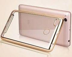 Xiaomi Redmi 3S Non Slip Shock Absorption Transparent Case - Crystal Clear Transparent with Multi Layer Bumper Cushion Case - Perfect Non Slip Grip and Golden Border Corner protection with TPU (Transparent)