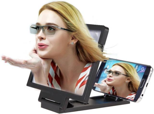 Japanes Quality 3D Screen Magnifying Glass For All Mobile Phones Best quality Clear 3D Screen ,Clear Picture quality Guaranteed-Black