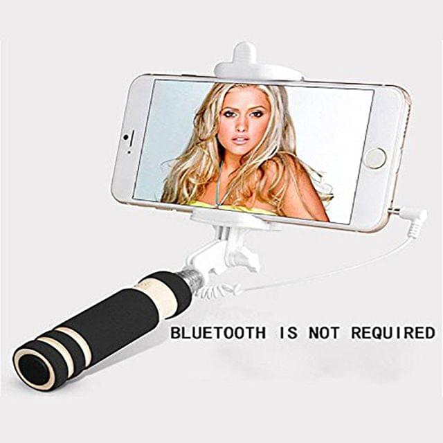 Selfie Stick-mini with Aux cable for Iphone, Android, window phone, No bluetooth, No charging required -(COLOUR MAY VARY)