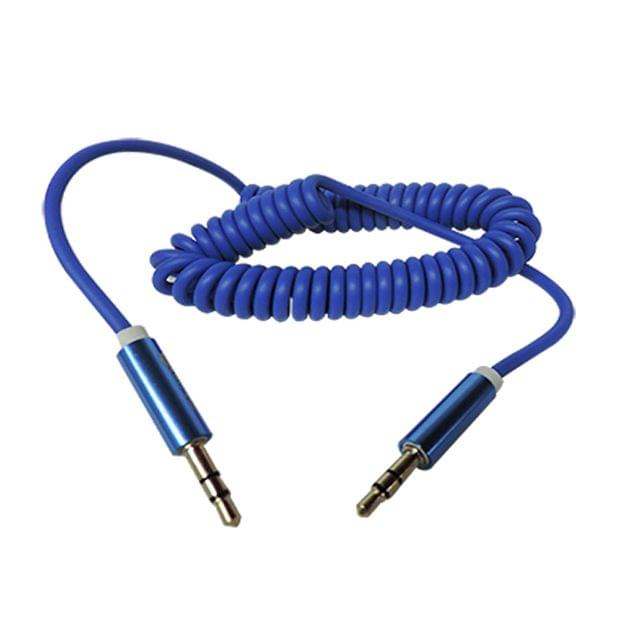 Ikare Flexible Spring 3.5mm To 3.5 mm Car Aux Audio Cable for iPhone/iPod/iPad/mp3/mp4/phone/Tablet PC-Blue