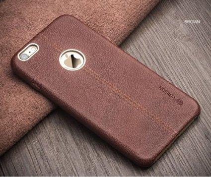Apple iPhone 6S, 6 LEXZA Series Double Stitch Leather Shell Back Cover From Vorson - Brown