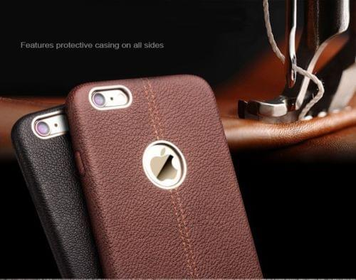 Apple iPhone 5/5S/SE Double Stitch Leather Shell with Metallic Logo Display Back Cover Case From Vorson -Brown