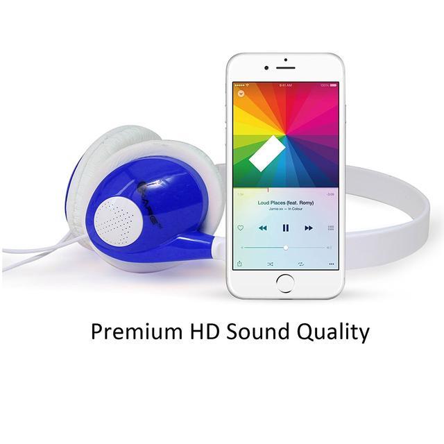 iKare Foldable Over Ear Easy Comfort Hi Fi Stereo Headphone Wired Stereo Microphone Headset-(Blue)