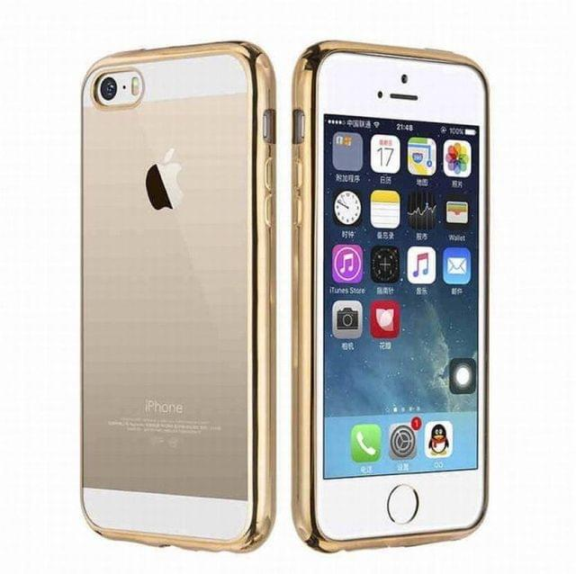 Apple iPhone 5 5S Silicone Transparent Back Cover with Golden Border