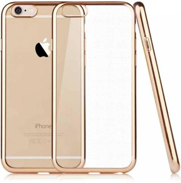Apple iPhone 6S Plus Silicone Transparent Back Cover with Golden Border