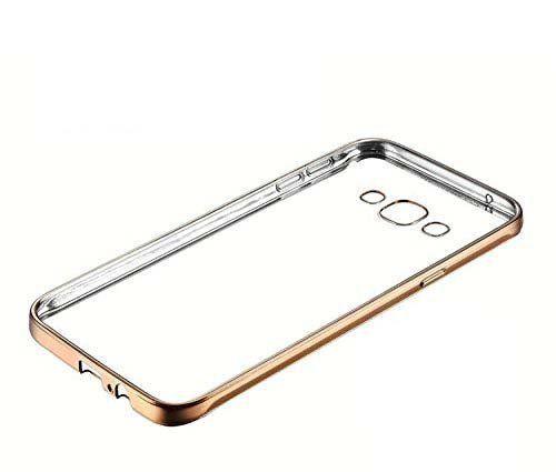 Samsung On7     Transparent Silicon Back Cover Side Golden Border
