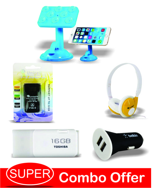 16GB Toshiba pendrive+iKare Foldable Hi Fi Stereo Headphone +Mobile Car Holder+Belkin Car Charger+ Unicell card Reader
