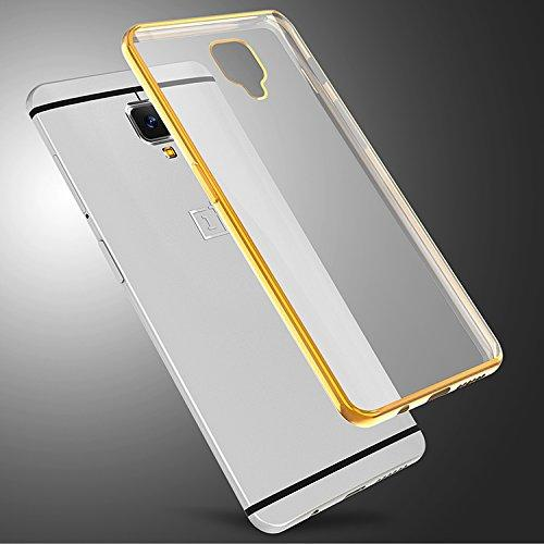 One Plus 3 Side Golden Border silicon Cover